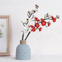 Plum Cherry Blossoms Искусственные шелковые Цветы Флорес Сакура Дерево Дерево Домашний Стол Гостиная Декора DIY Свадебные Украшения1