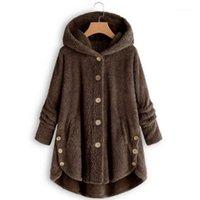 여성용 재킷 플러스 사이즈 가을 양털 재킷 여성 패션 표범 인쇄 겉옷 코트 인과 단추 불규칙한 윈드 브레이커 Overcoat1