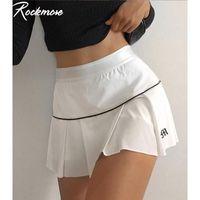 Rockmore y2k estética sexy mini saias cintura alta letra plissada impressão harajuku estilo coreano roupas branco saia night club