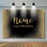 Birthday Photocall Backgrounds Black Glitter Golden Dot Background Birthday Anniversary Party Decor Name Years Old Customized1