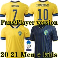Larsson Sweden 2020 National Soccer Jersey 홈 2021 Ibrahimovic Kallstrom Forsberg 팬들 선수 버전 20 21 Areat Football Shirts 남자 아이들