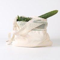 قابلة لإعادة الاستخدام سلسلة حقيبة تسوق الفاكهة الخضروات البيئية البقالة حقيبة التخزين المحمولة حقيبة المتسوق حمل شبكة صافي أكياس التخزين القطن المنسوجة GWB4530