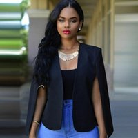 Frauenjacken 2021 Frauen Elegant Solid Open Front Cape Cloak Sleeve Weiß Schwarz Streetwear Moderne Dame Oberbekleidung Mantel