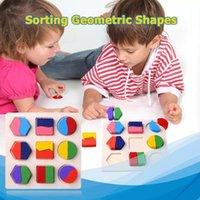 Forme geometriche in legno Montessori Puzzle Ordinamento Math Bricks Preschool Learning Game Educativo Gioco Baby Toddler Giocattoli per bambini