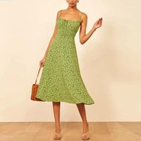 New women green floral printed maxi long sling dress sleevel...