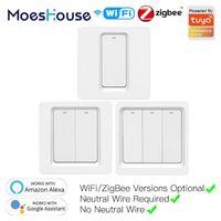 WIFI Zigbee Smart Push Button Switch No neutral requerido Smart Life Tuya App Alexa Google Home Voice Control 2/3 Way UE UK New1