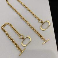Heißer Verkauf Mode Brief Gold Kette Halskette Armband Für Herren und Frauen Party Liebhaber Geschenk Hip Hop Schmuck mit Box LZ1213