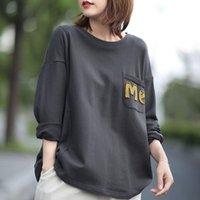 T-shirt das mulheres Johnature Lazer Lazer Patchwork Pocket Letter O-pescoço de manga comprida camisetas 2021 Outono Simples All-Match Women Tops