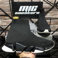최고 품질의 니트 양말 신발 메쉬 속도 2.0 트레이너 높은 레이스 주자 망 디자이너 운동화 cblack 화이트 슬립 트리플 s 캐주얼 플랫폼 트레이너 스니커즈 상자