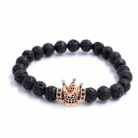 Bracelets de charme Micro Pave Noir Cz Zirconia Gold King Crown Bracelet Hommes Sourdine Polisse Matte Perle Anil Arjandas pour femmes