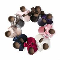 2020 новичков новичков новорожденных мокасины ребёнка обувь ребёнок Рибанд бабочка галстука PU кожаная принцесса детская обувь