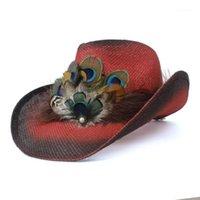 2019 Retro Donne Paglia Hollow Hollow Cappello da cowboy occidentale Lady Bohemia Tassel Peacock Piuma Sombrero Fedora Beach Cowgirl Jazz Sun Hat1