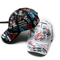 Весна Граффити Печать бейсболка Cap Cap Cap Cap Cap Hat Haft Hip-Hop оптом шапка