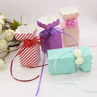 Подарочная упаковка 5/2 шт. DIY красивый цветок чашка конфеты коробка свадьба одолжение коробки милые маленькие счастливые события поставки с лентой роза