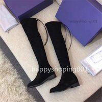 Высококачественная женская кожа на коленах сапоги толстые нижние эластичные высоко, чтобы помочь плоскую обувь черная шнуровка обувь