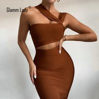 Glamm Lady Midi Gelegenheits Bandage-Kleid für Frauen-Partei Bodycon reizvolles Kleid-trägerloses Herbst-Kleid-elegantes aushöhlen Vestidos