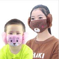 Çocuklar Maskeleri 2 1 Çocuk Karikatür Ayı Yüz Maskesi Peluş Earmuffs Kalın Sıcak Çocuklar Ağız Maskeleri Kış Ağız-muffle Çocuk Dökye Maskesi CCD1891