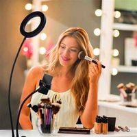 Varm försäljning 6 tums livefyllningsljus skrivbordsklipp ljus vit ljus USB-anslutning Dimbar Selfie Ring Vanity Light med telefonhållare