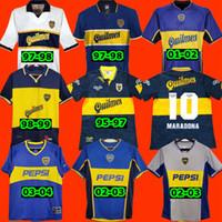 레트로 디에고 Maradona Boca Juniors 95 96 97 축구 유니폼 1981 2001 2002 2002 2003 2004 Tevez 1997 1998 축구 셔츠 Maillot Camiseta de Futbol