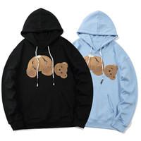 2020 Nova 4 Color Palms Teddy Bear Letras Imprimir Hoodies Homens Mulheres Vestir Oversized Solto Longo Camisa Camisola Camisola Hoodies M-2XL Anjos