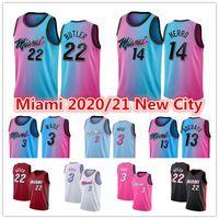 2021 Jimmy 22 Butler Rose Tyler Herro Edition Dwyane 3 Wade Bam 13 Adebayo Dragic Nunn Blue MiamiChaleurMaillots de basketball de la ville de Mens