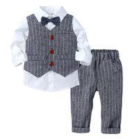 Top e Top Fashion Boy Abbigliamento Set Set Gentleman Suit Bow Tiovetta a maniche lunghe + Pantaloni 3pcs Costume Costume Abito da compleanno Abito abbigliamento