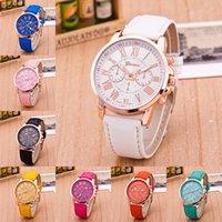 PU 가죽 밴드 제네바 시계 유니섹스 브랜드 석영 시계 디자이너 15 색 손목 시계 로마 숫자 아날로그 손목 시계 팔찌 LY11164