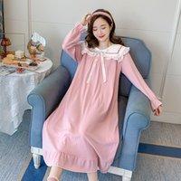 Primavera autunno autunno in cotone Night Night Dress Abito a maniche lunghe Abbigliamento da notte da notte per donne incinte Gravidanza Sleep Lounge LJ201125
