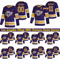 Los Angeles Reis Reverse Retro Jerseys 99 Gretzky 8 Doughty 11 Kopitar 32 Quick 77 Carter Personalizado Qualquer Número Qualquer Nome Hóquei Jersey