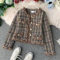 UVRCOS Yeni Sonbahar Kış Vintage Tüvit Ceket Kaban Kadın Küçük Koku Patchwork Kore Yün Kırpılmış Coats Zarif Kısa OU