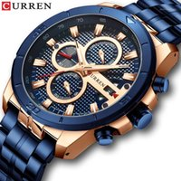 Curren 8337 relógios Homens de aço inoxidável de aço de quartzo relógio de relógio de relógio de cronógrafo masculino moda desportiva relógio impermeável1