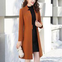 Capispalla soprabito giacca autunno giacca casual donna moda lungo cappotto di lana singolo petto sottile tipo femminile cappotti di lana invernale femminile # J30