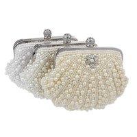 Sekusa Shell Design 여성 이브닝 백 핸드 메이드 다이아몬드 찬 어깨 메신저 가방 크리스탈 결혼식 저녁 가방 201204