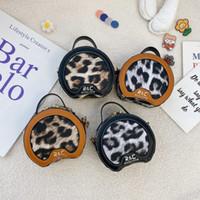 키즈 레오파드 쉘 가방 2021 새로운 소녀 원형 미니 핸드백 아동 체인 가방 디자이너 아이 공주 Purse A5715