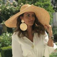 النساء أزياء سوبر كبير بريم 26 سنتيمتر الرافية شاطئ القبعات حماية الشمس القش قبعة سيدة فتاة في الهواء الطلق المتضخم قبعة الشاطئ القابلة للطي