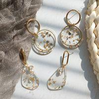 Dangle Chandelier Design Coreano Design Moda Gioielli trasparente acrilico rotto Shell orecchini oro metallo asimmetrico geometrico per le donne1