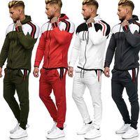 새로운 봄과 가을 패션 망 레저 스포츠 슈트 컬러 일치 스웨터 2 조각 남성 지퍼 스포츠 바지 캐주얼 양복