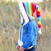 Hiver épaissie chaude chaude chaude chapeau de crochet de laine pour enfants de chapeau de queue arc-en-ciel fille coloré princesse capg gwa2691