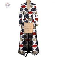 Yaz Yeni Kadınlar Için Afrika Ceket Siper Kadınlar Maxi Dış Giyim Trençkot Bayan Dashikis Marka Giyim 6XL BRW WY24051