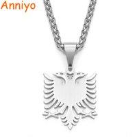 Anniyo Albania Eagle кулон ожерелья полировка нержавеющая сталь ювелирные изделия этнические подарки для женщин мужчин # 109221