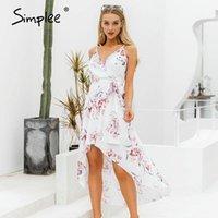 Simplee Seksi V Yaka Spagetti Kayışı Kadınlar Yaz Elbise Zarif Çiçek Baskı Asimetrik Uzun Sundress Bayanlar Beach Maxi Dresses1