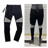 Mens Skinny Jeans Marken Black Ripping Skinny Slim Fit Sport Trainingsanzug für Männer Lange Gerader Reißverschluss Fliegenbiker Rock Revival Jeans