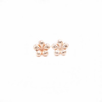 Classic Flowers Stud Earrings Gold White Rose Three Color Su...