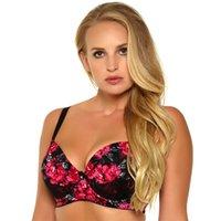 955 mujeres Sujetador Big Breast Push Up Sexy Encaje e impresión de alta calidad 3/4 taza Tallas grandes D-DD-DDD-E-F 32 34 34 38 40 42 Y1119