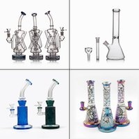 Glass Bong Recycler Oil Rig Wax Water Pipe Head unique Bongs...
