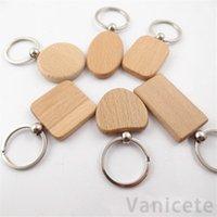 Creativo fai da te metallo metallo keychain keychain keychain catene rettangolo rotondo a forma di cuore a forma di legno blank chiave anelli chiave portachiavi party favore 100pcs t1i3110