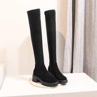 Горячие Продажа krazing горшок простой стиль популярный корова стрейч-кожа круглый носок пятки женщин зимы согреться твердые бедра высокие сапоги