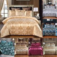 7 cores cetim jacquard 3 pcs Define nova chegada conjunto de cama de classificação Capa de colcha de estilo europeu e pillowcase