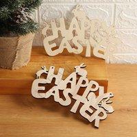 Pâques de décoration en bois Bunny Happy Pâques Porte Pendentif Ornements Ornements Diy Wood Fabrication de la lapin de Pâques Pâques Décor pour la maison CCD4214