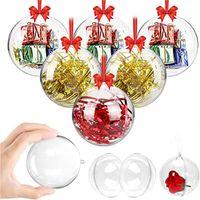 Decoraciones de Navidad Bolsa de Navidad de plástico de plástico abierto de 4 cm a 14 cm Árbol de Navidad Ornamento Fiesta Bolas claras